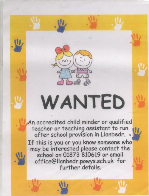Llanbedr Childminder Advert