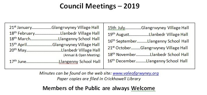 Meeting Dates 2019