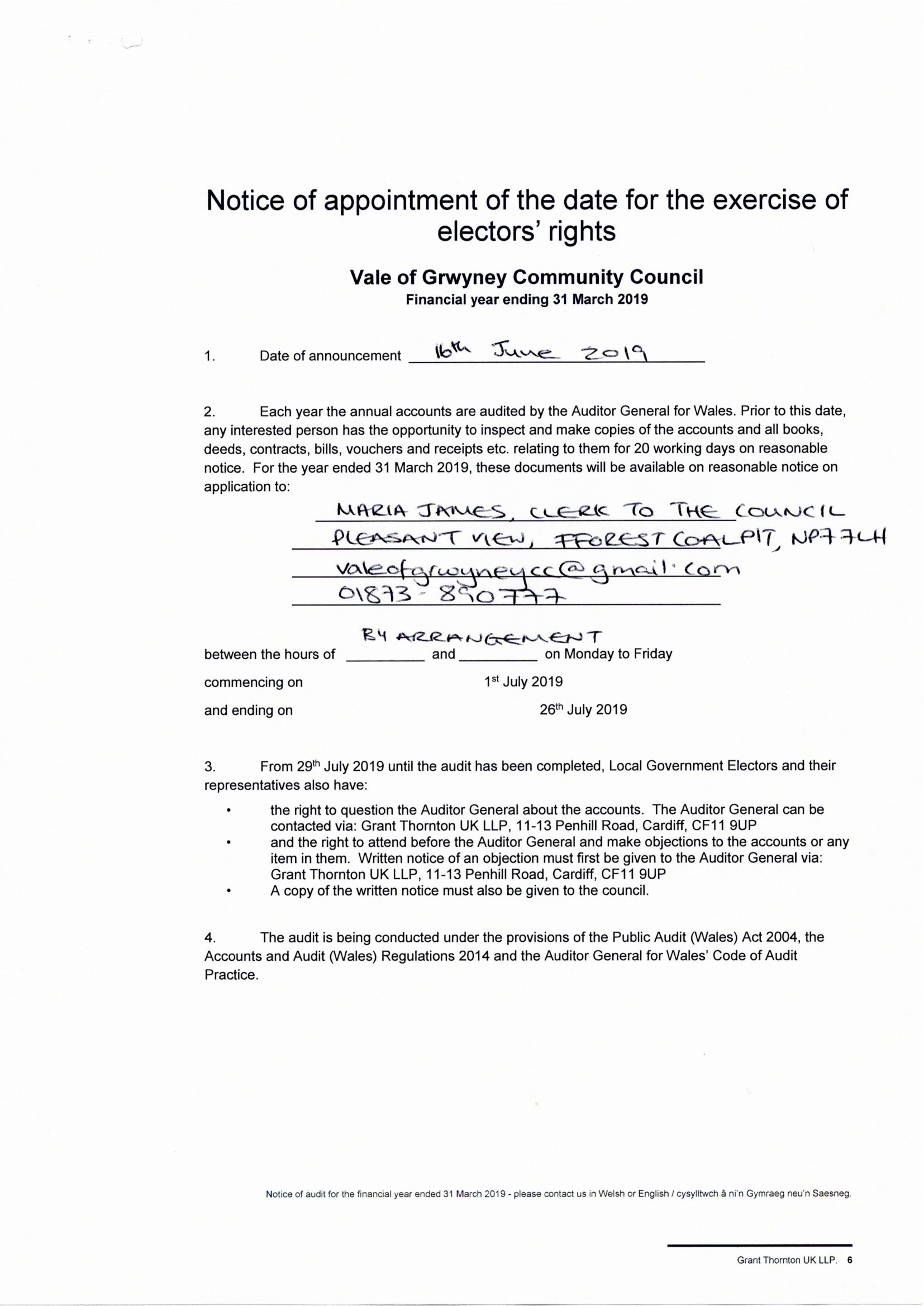 Notice of Appt to exercise electors rights