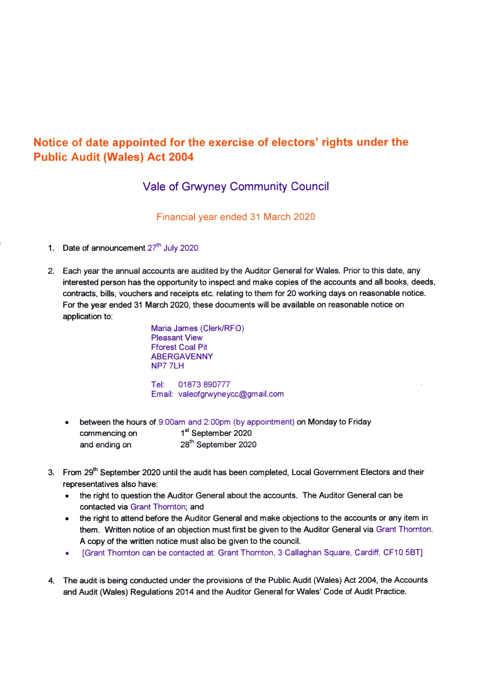 Notice of Electors' Rights under the Public Audit (Wales) Act 2004